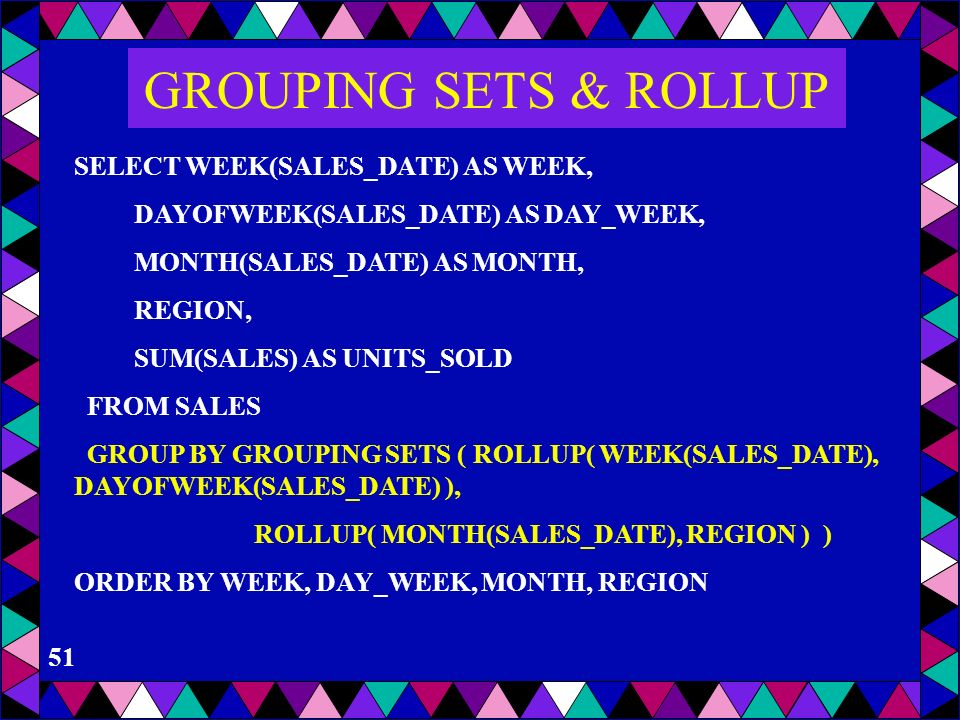 GROUPING SETS & ROLLUP SELECT WEEK(SALES_DATE) AS WEEK,
