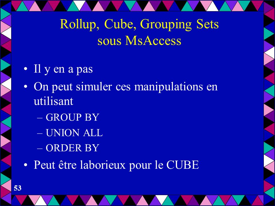 Rollup, Cube, Grouping Sets sous MsAccess