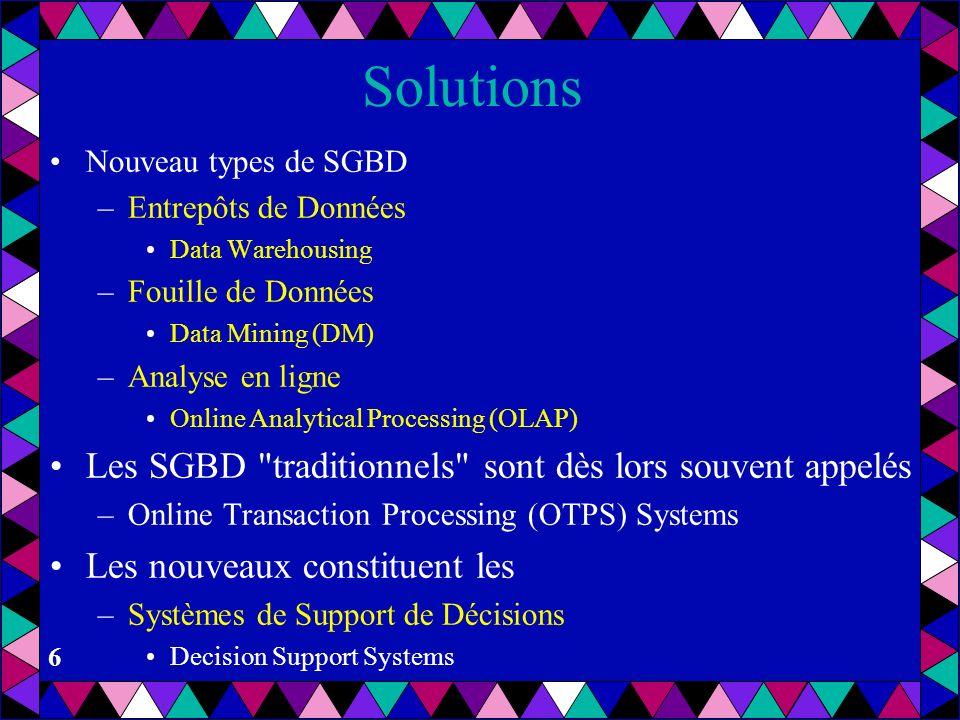 Solutions Les SGBD traditionnels sont dès lors souvent appelés
