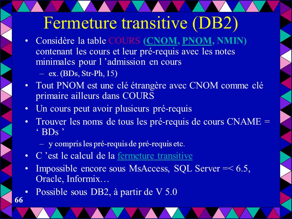 Fermeture transitive (DB2)