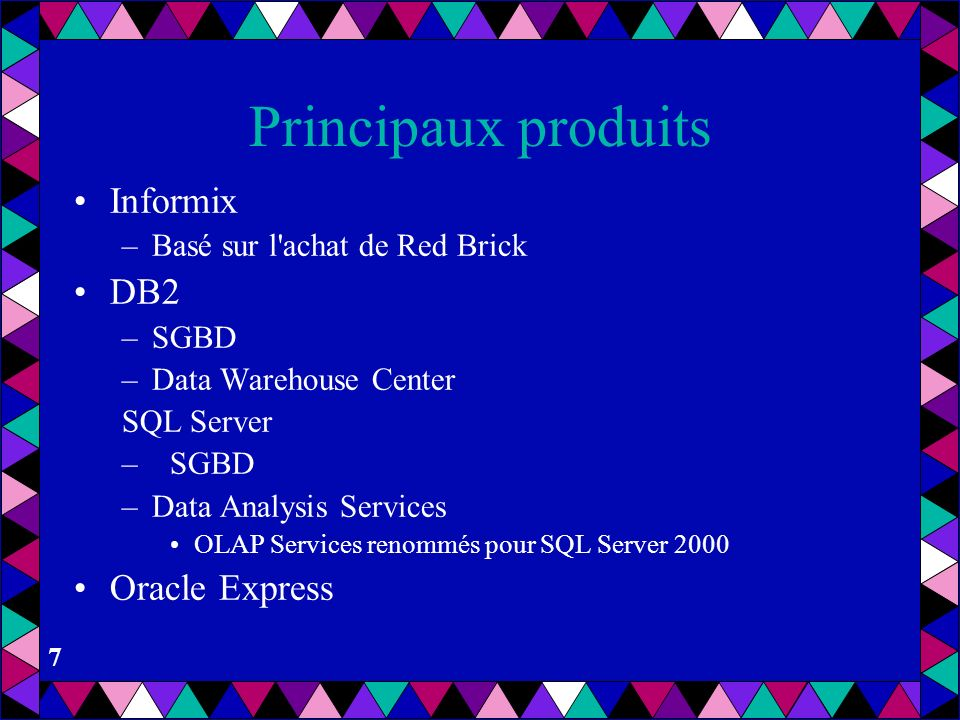 Principaux produits Informix DB2 Oracle Express