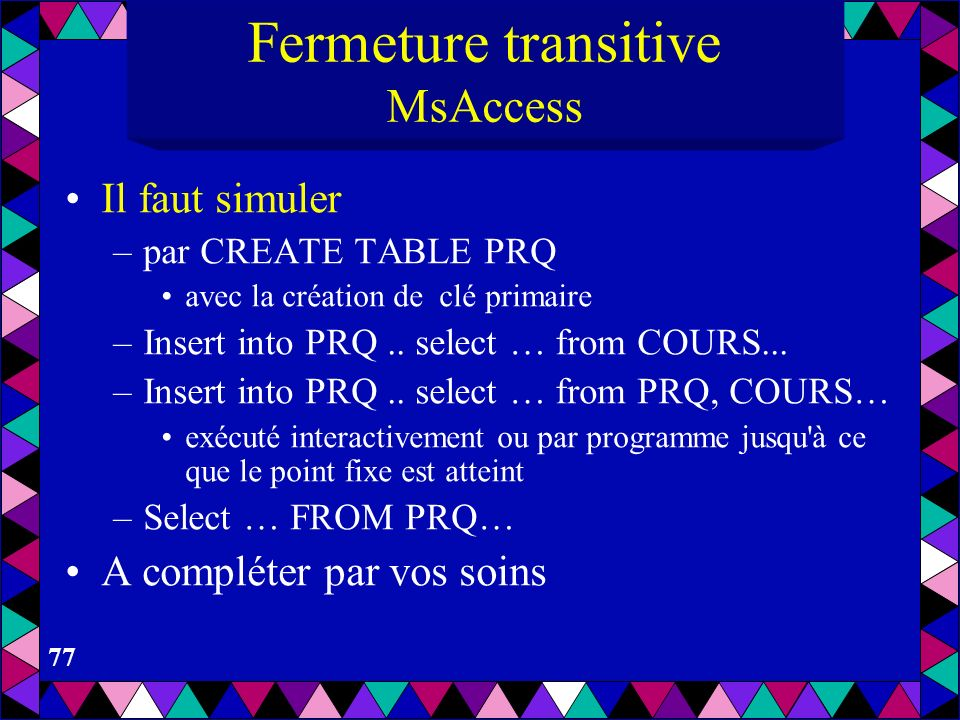 Fermeture transitive MsAccess