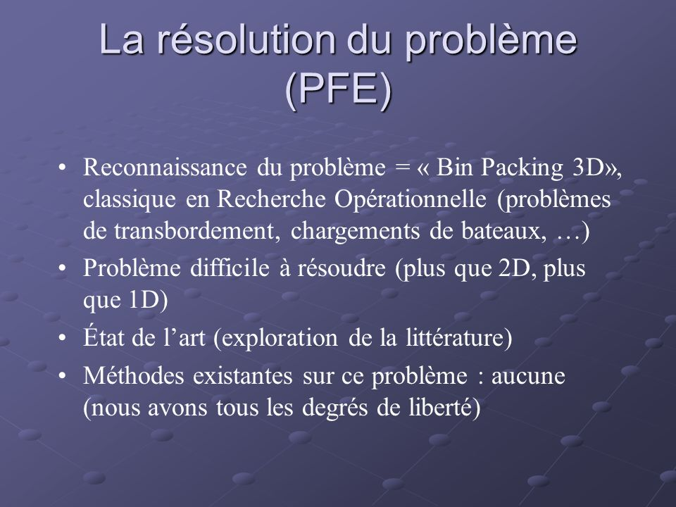 La résolution du problème (PFE)