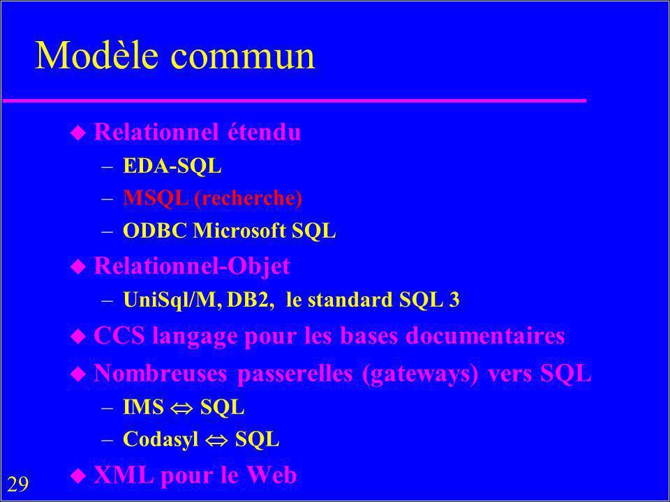 Modèle commun Relationnel étendu Relationnel-Objet