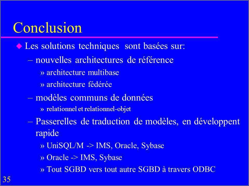 Conclusion Les solutions techniques sont basées sur: