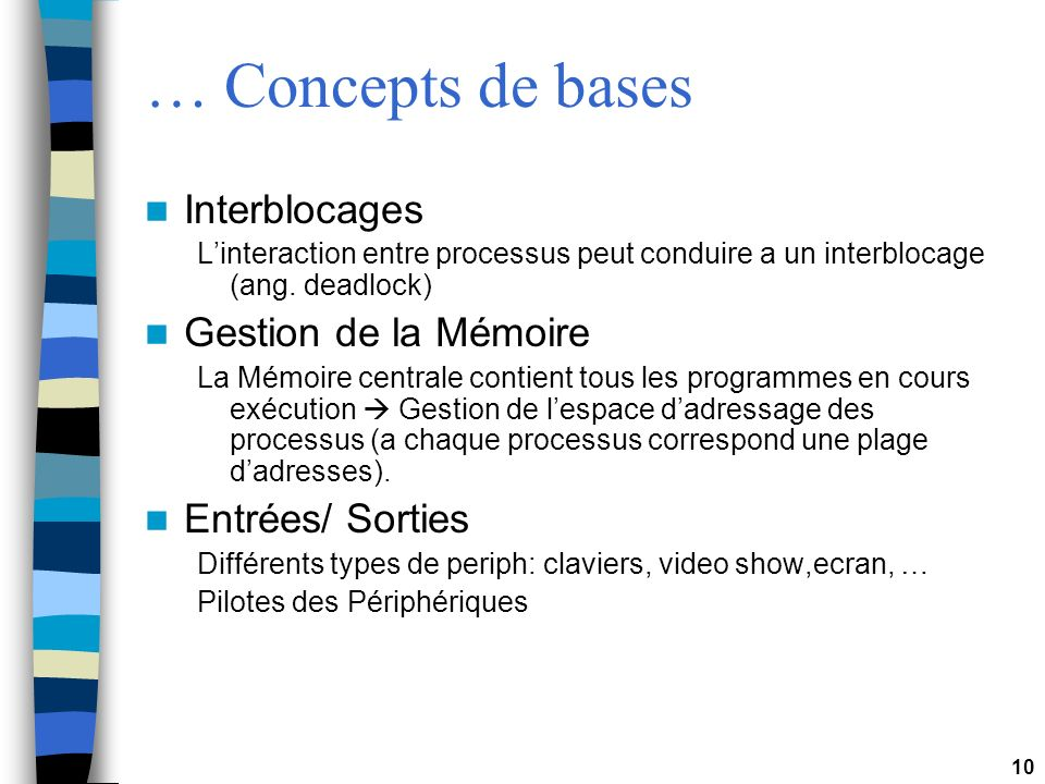 … Concepts de bases Interblocages Gestion de la Mémoire