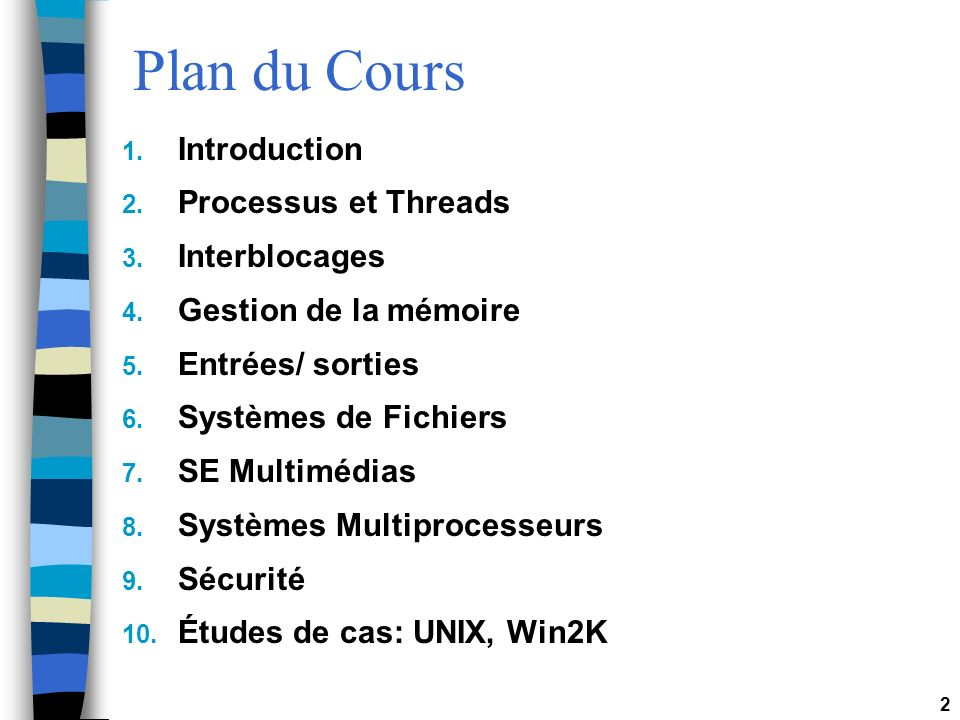 Plan du Cours Introduction Processus et Threads Interblocages
