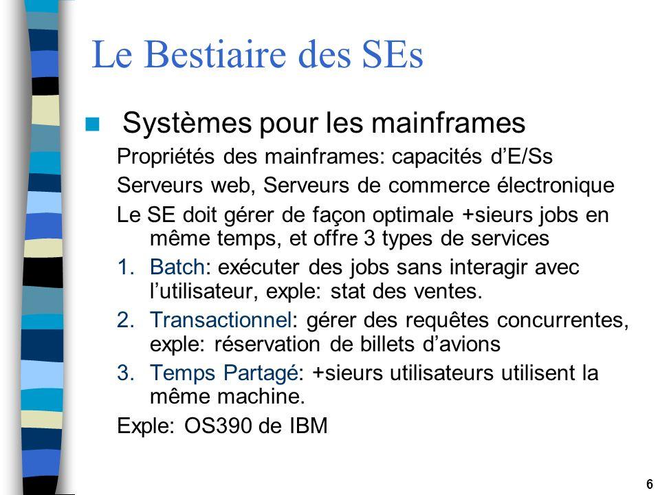 Le Bestiaire des SEs Systèmes pour les mainframes