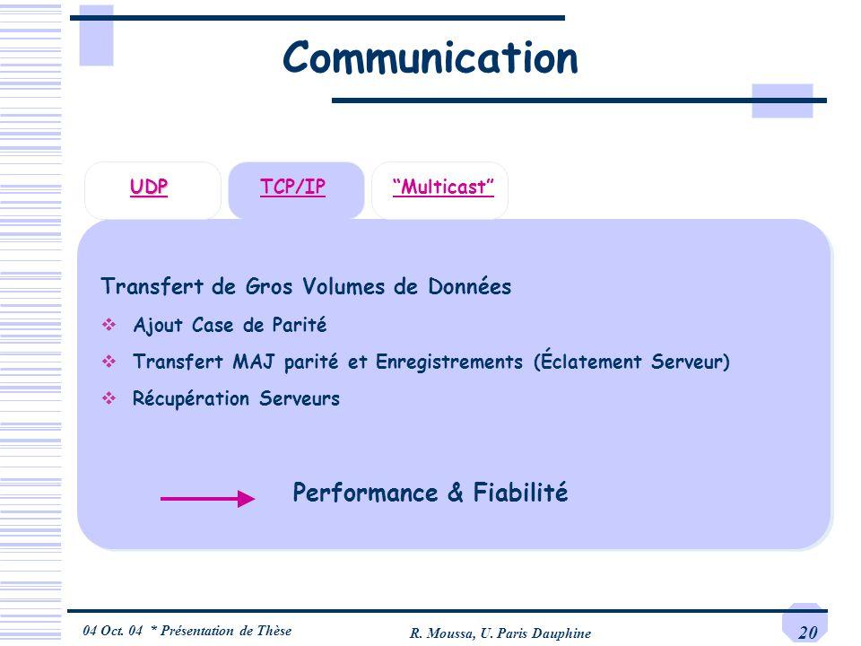 Communication Performance & Fiabilité