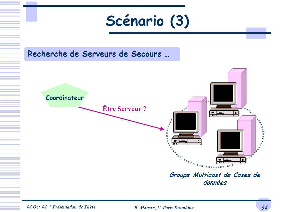 Scénario (3) Recherche de Serveurs de Secours … Être Serveur