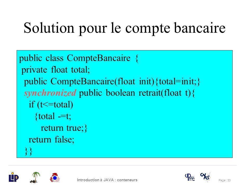 Solution pour le compte bancaire