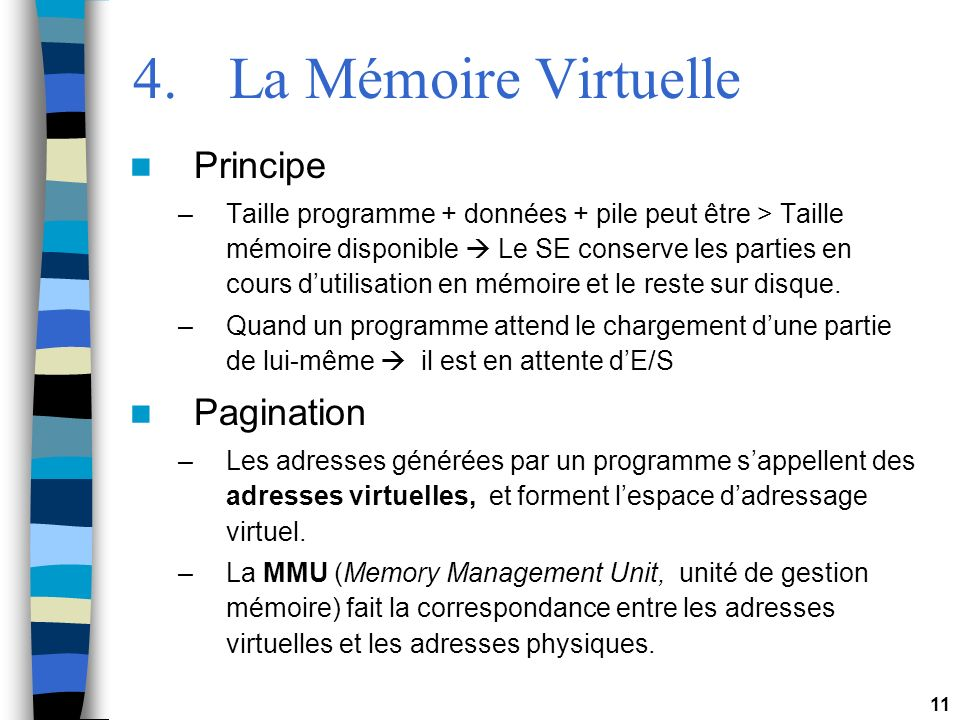 4. La Mémoire Virtuelle Principe Pagination