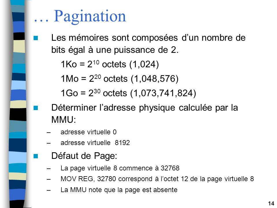 … Pagination Les mémoires sont composées d'un nombre de bits égal à une puissance de 2. 1Ko = 210 octets (1,024)