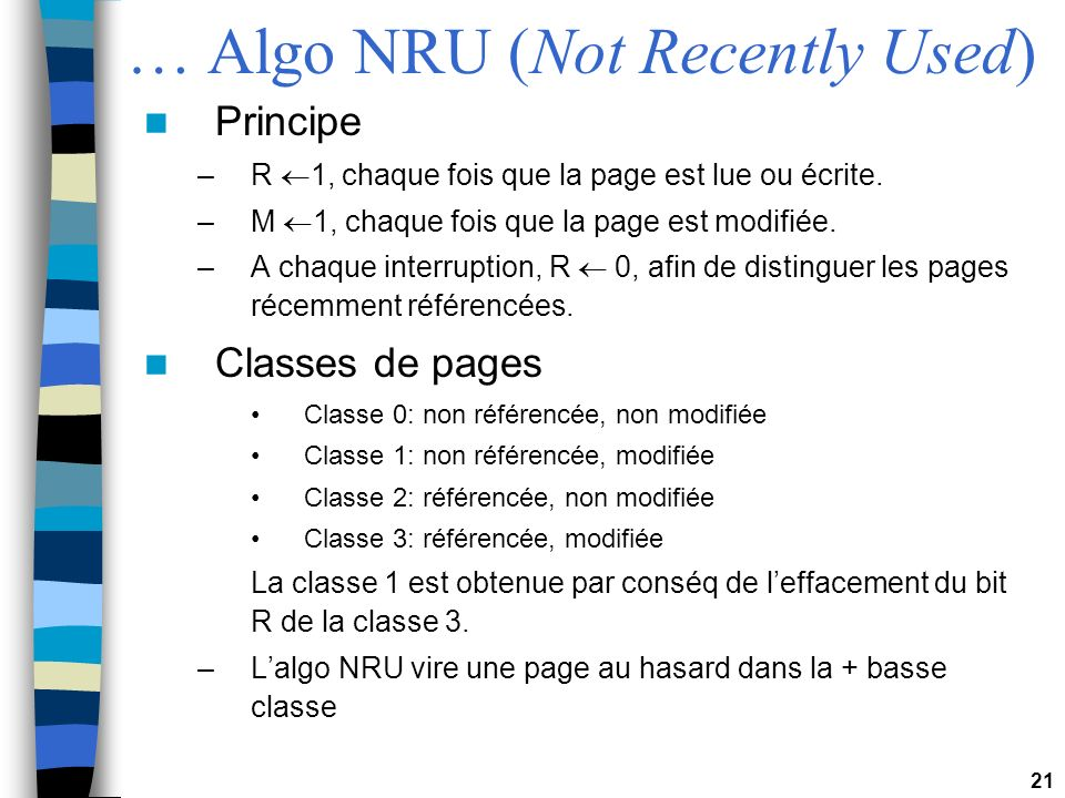 … Algo NRU (Not Recently Used)