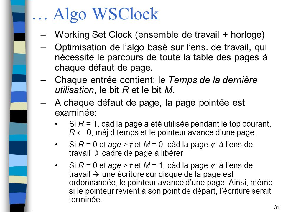 … Algo WSClock Working Set Clock (ensemble de travail + horloge)
