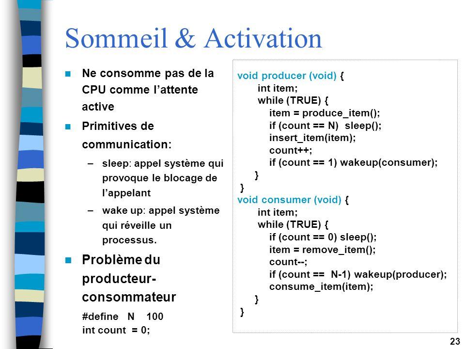 Sommeil & Activation Problème du producteur-consommateur