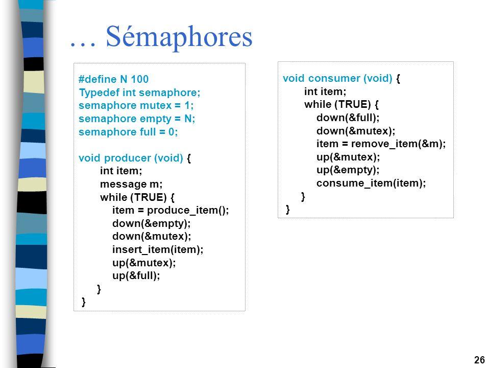 … Sémaphores #define N 100 void consumer (void) {