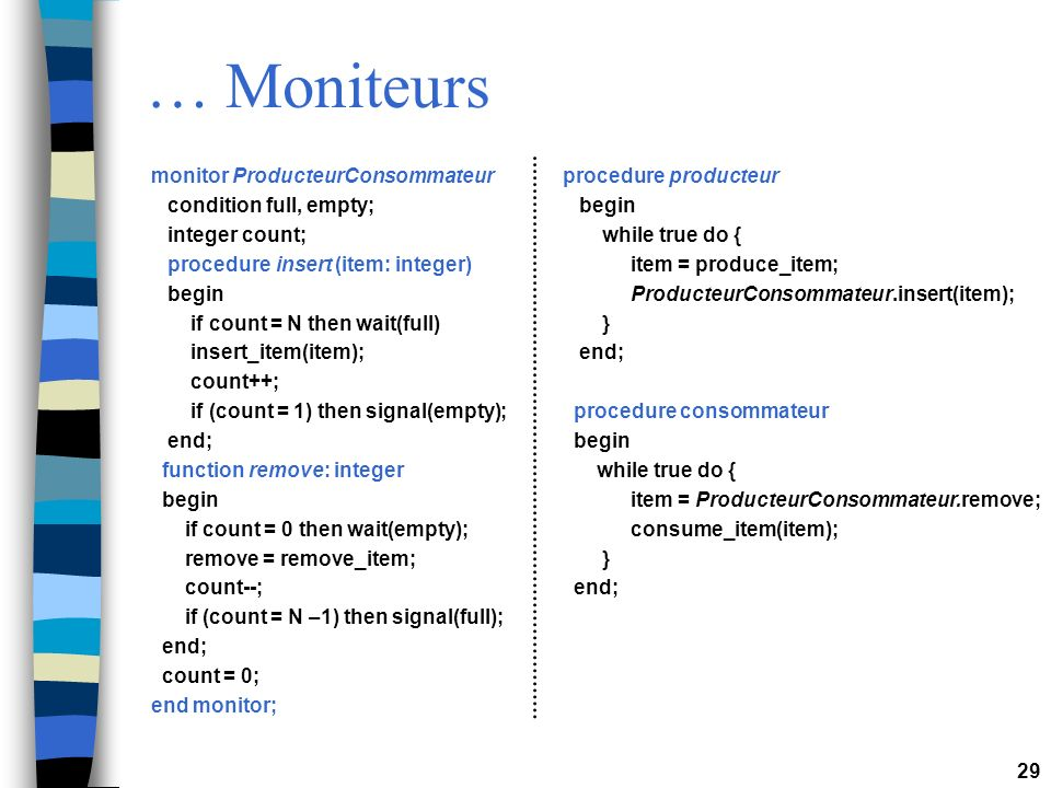 … Moniteurs monitor ProducteurConsommateur condition full, empty;