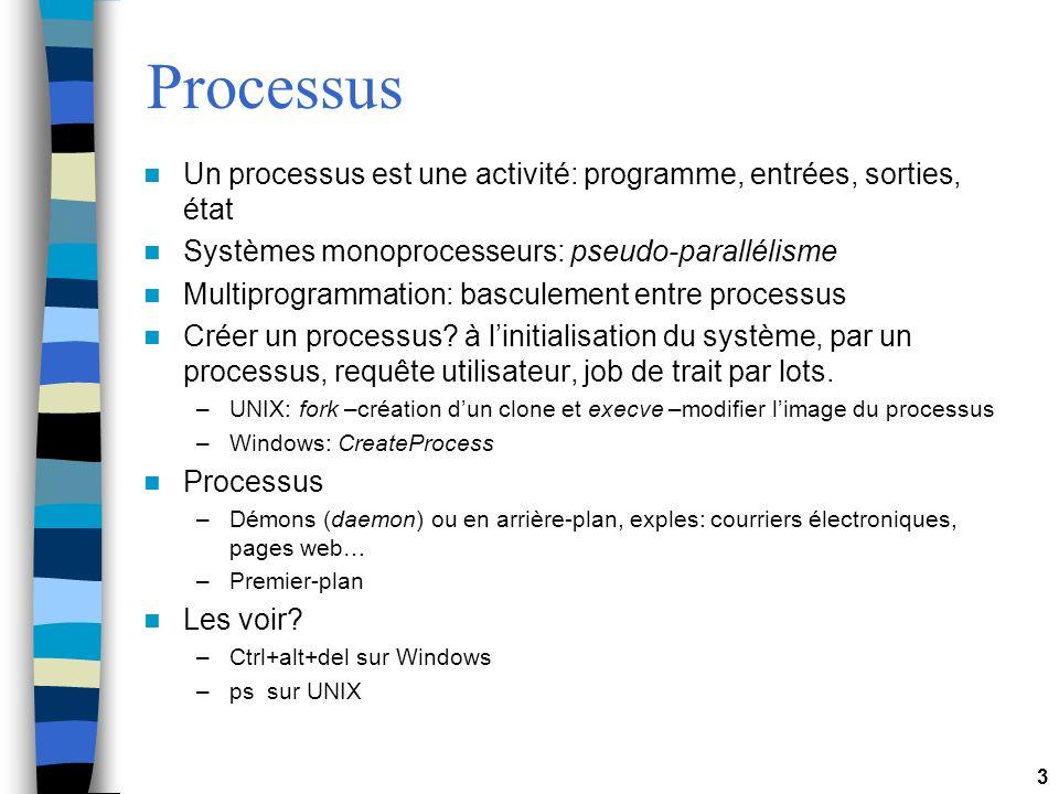 Processus Un processus est une activité: programme, entrées, sorties, état. Systèmes monoprocesseurs: pseudo-parallélisme.