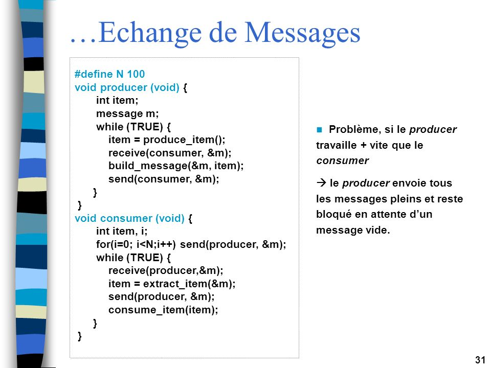 …Echange de Messages #define N 100 void producer (void) { int item;