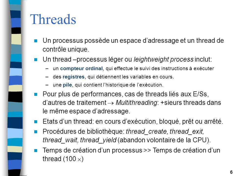 Threads Un processus possède un espace d'adressage et un thread de contrôle unique. Un thread –processus léger ou leightweight process inclut: