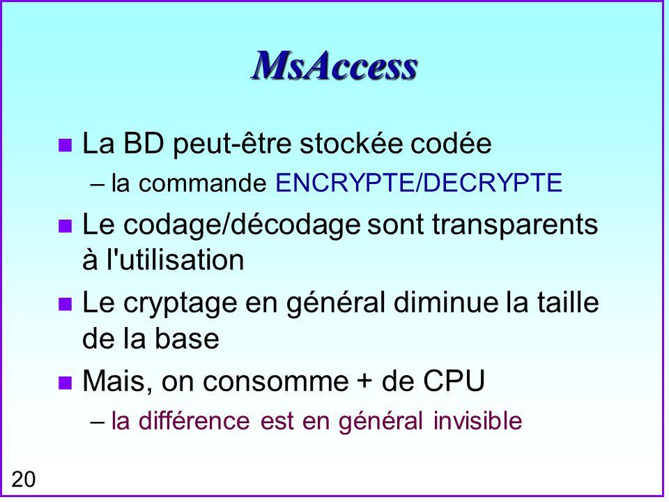 MsAccess La BD peut-être stockée codée