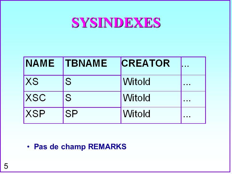 SYSINDEXES Pas de champ REMARKS
