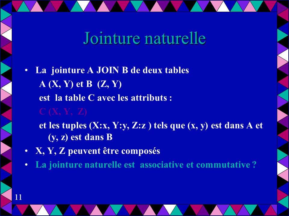 Jointure naturelle La jointure A JOIN B de deux tables