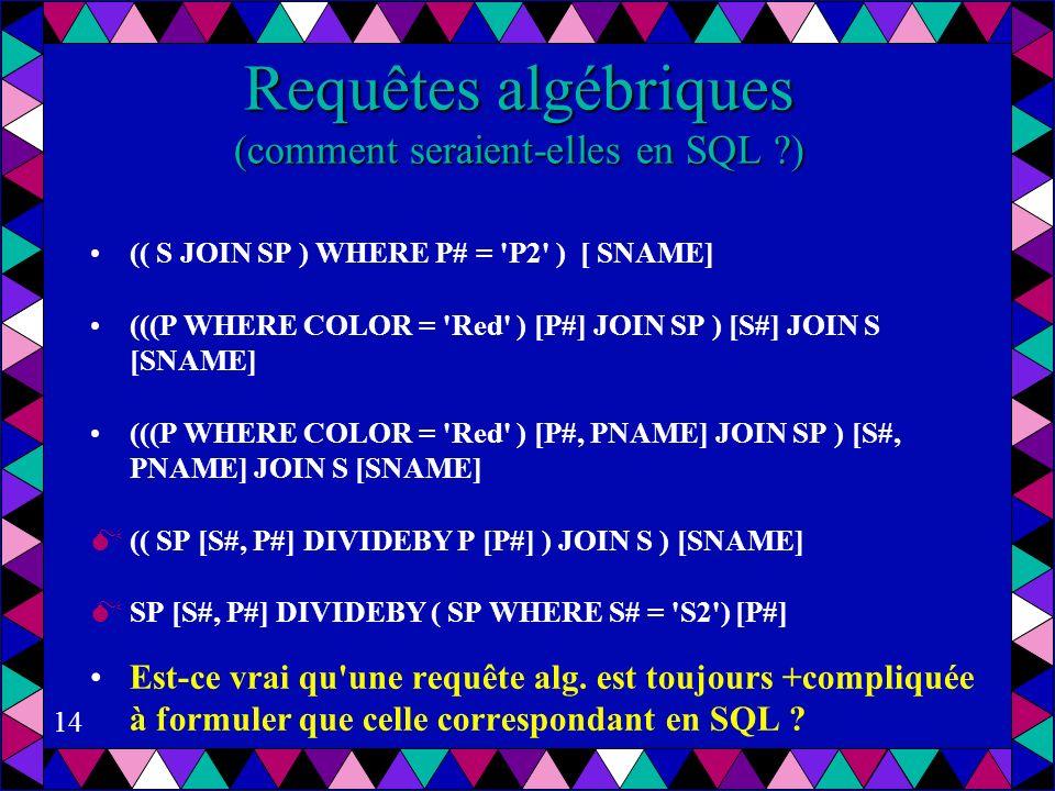 Requêtes algébriques (comment seraient-elles en SQL )