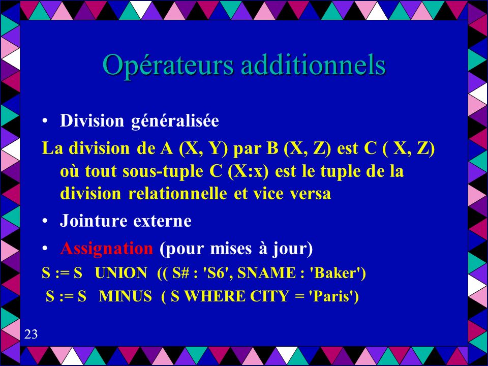 Opérateurs additionnels