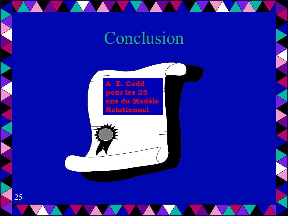 Conclusion A E. Codd pour les 25 ans du Modèle Relationnel