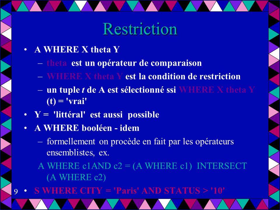 Restriction A WHERE X theta Y theta est un opérateur de comparaison