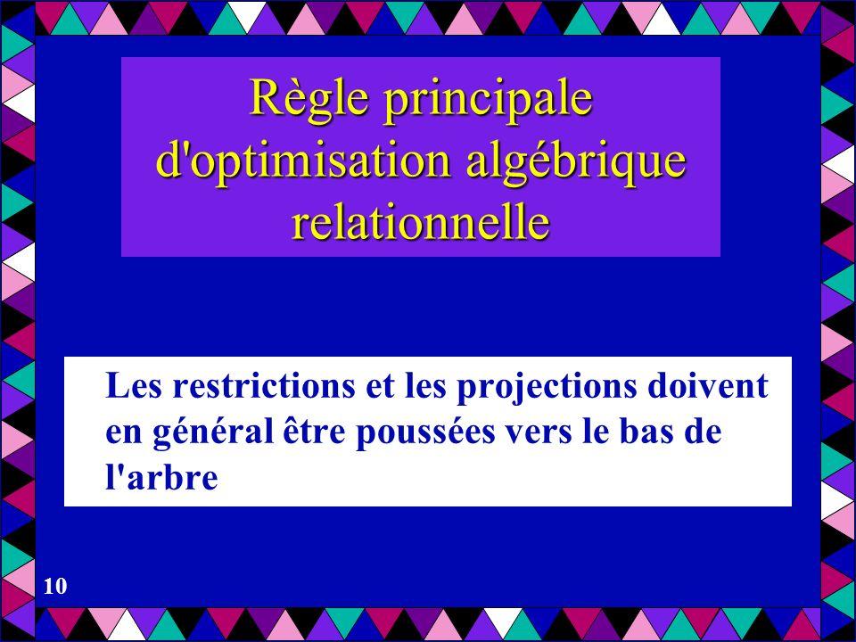 Règle principale d optimisation algébrique relationnelle
