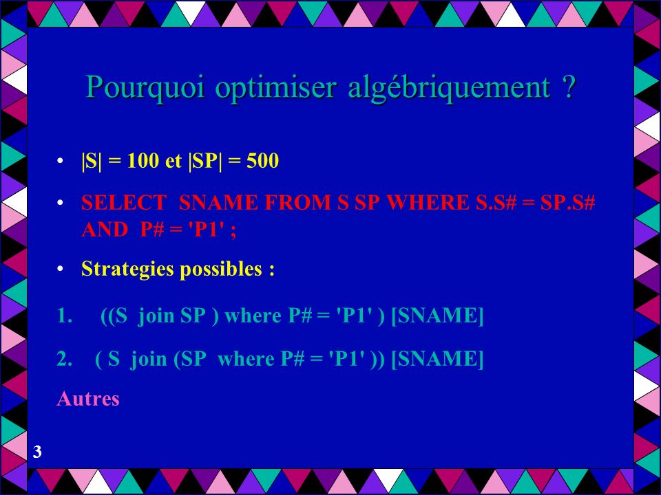 Pourquoi optimiser algébriquement