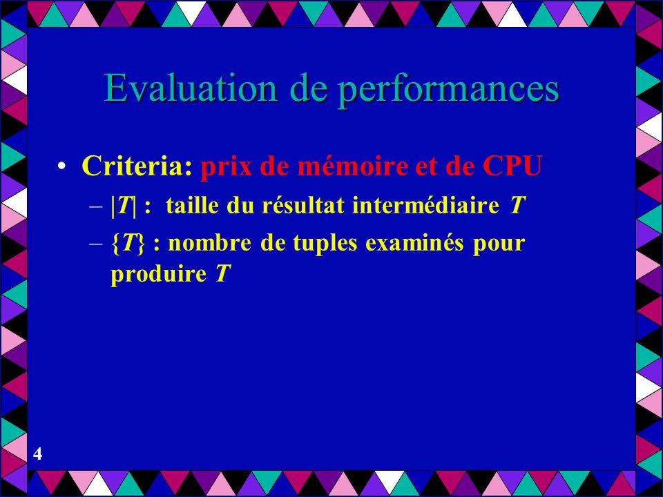 Evaluation de performances
