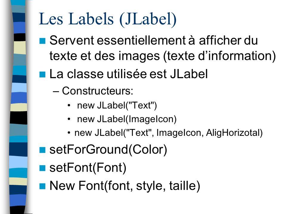 Les Labels (JLabel) Servent essentiellement à afficher du texte et des images (texte d'information)