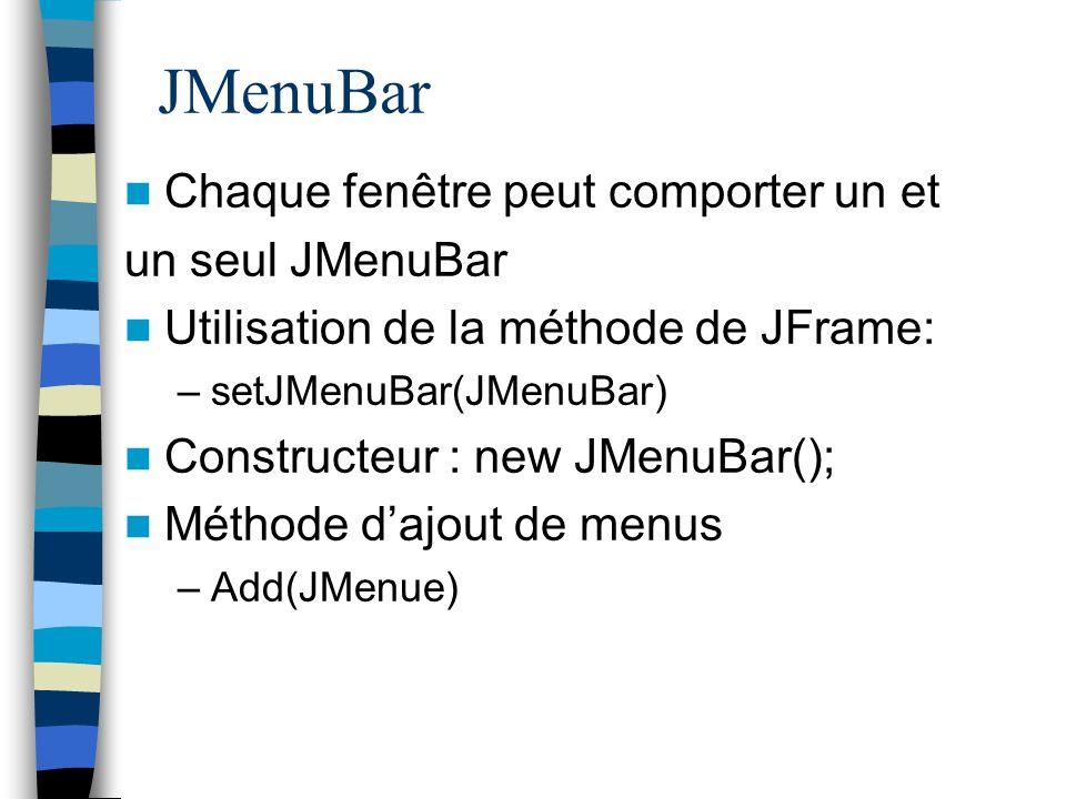 JMenuBar Chaque fenêtre peut comporter un et un seul JMenuBar
