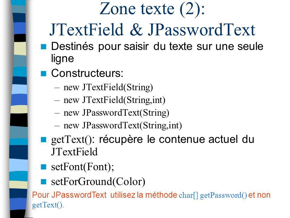Zone texte (2): JTextField & JPasswordText