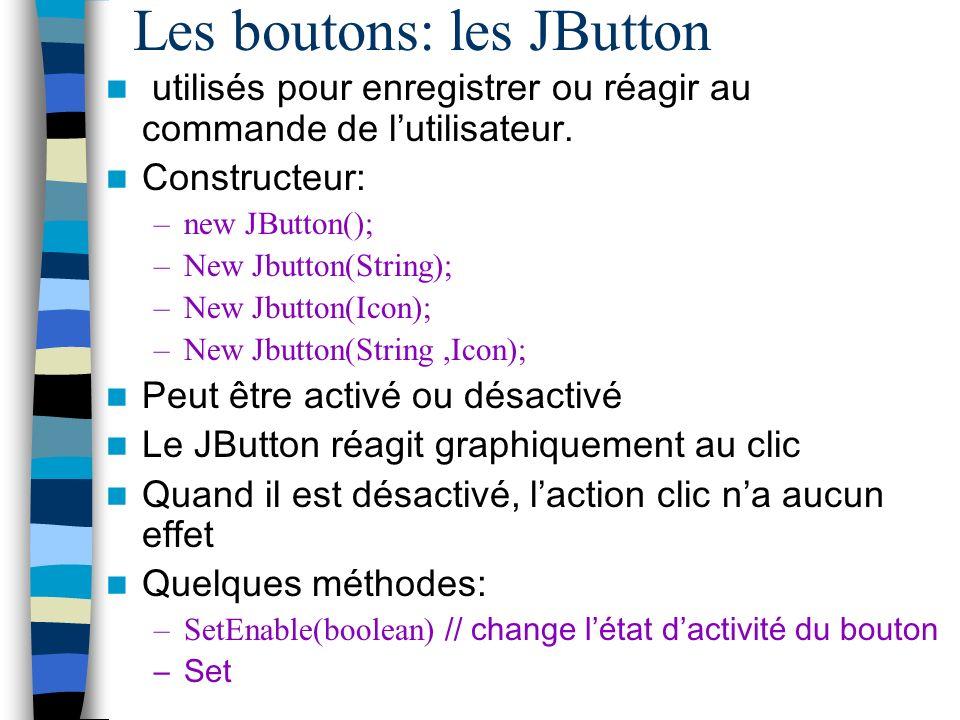 Les boutons: les JButton
