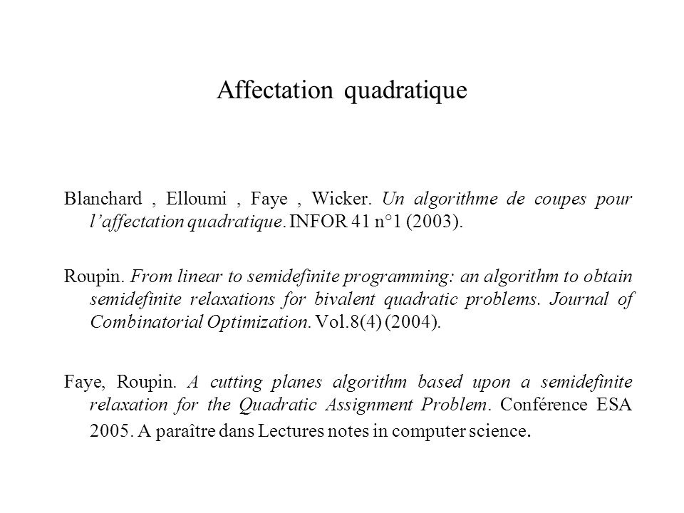 Affectation quadratique