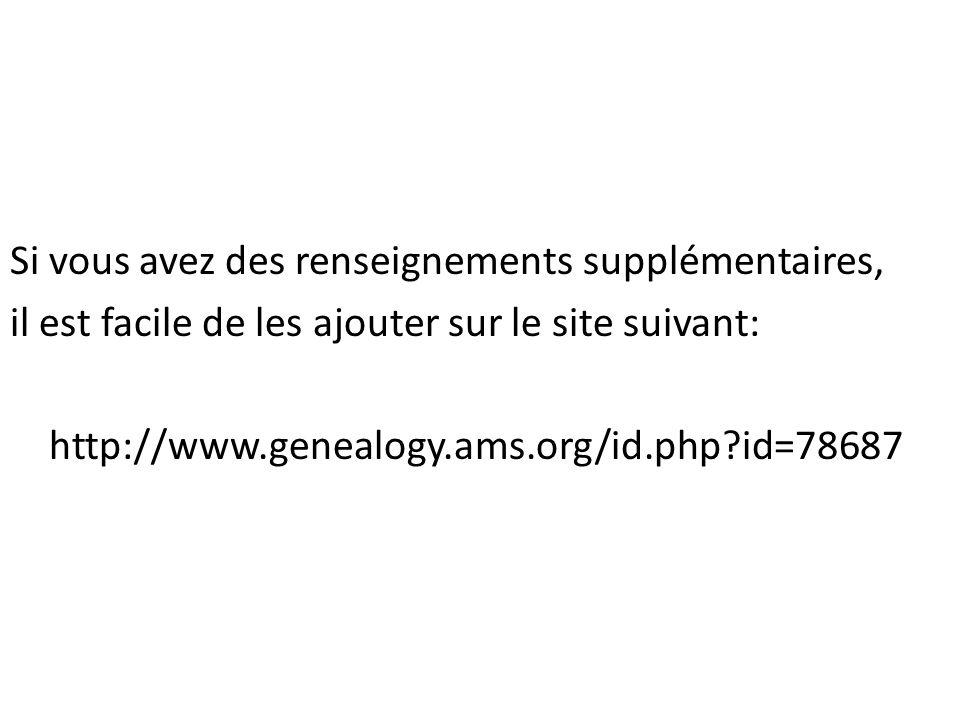 Si vous avez des renseignements supplémentaires, il est facile de les ajouter sur le site suivant: http://www.genealogy.ams.org/id.php id=78687