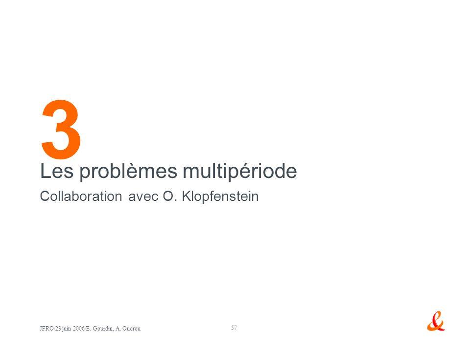 3 Les problèmes multipériode Collaboration avec O. Klopfenstein
