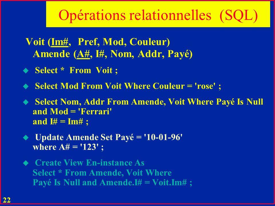 Opérations relationnelles (SQL)