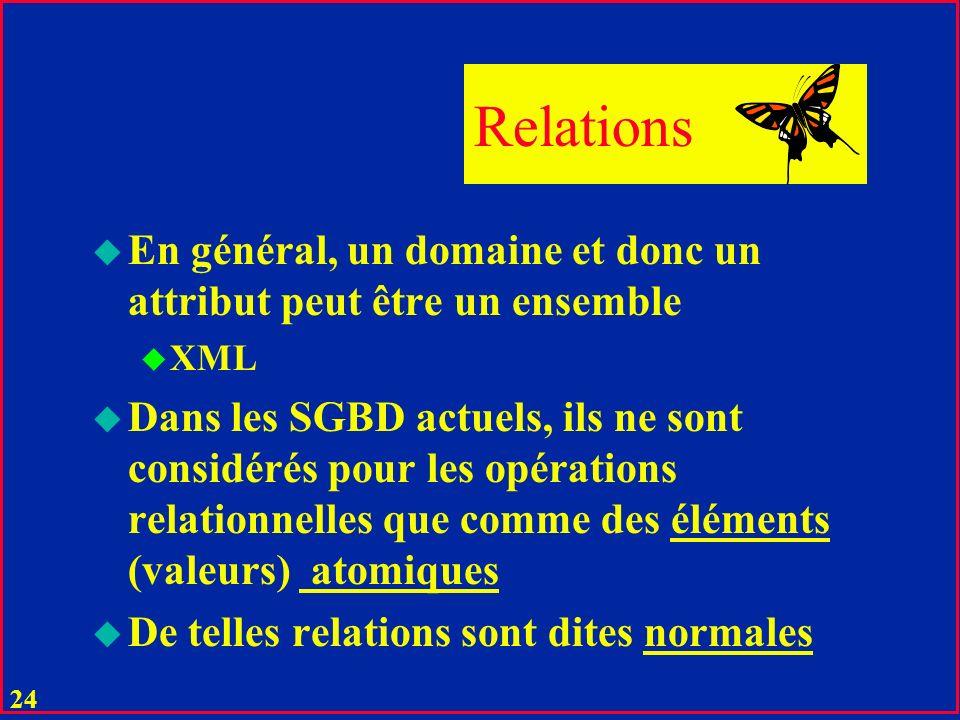 Relations En général, un domaine et donc un attribut peut être un ensemble. XML.