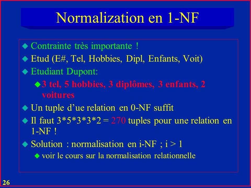 Normalization en 1-NF Contrainte très importante !