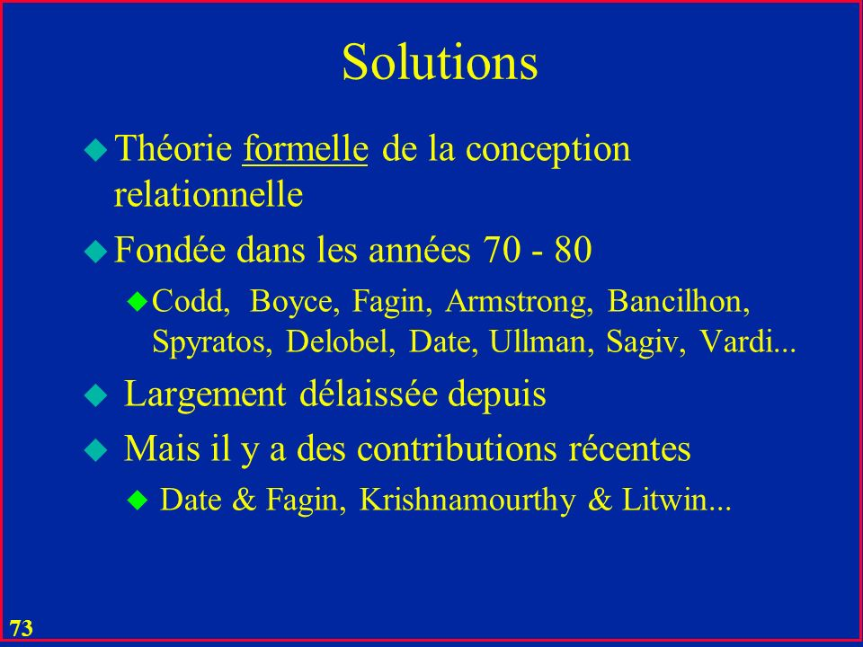 Solutions Théorie formelle de la conception relationnelle