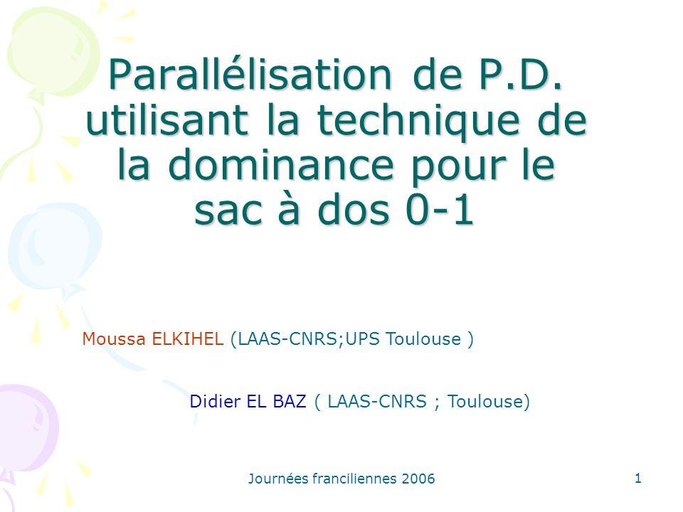 Parallélisation de P.D. utilisant la technique de la dominance pour le sac à dos 0-1