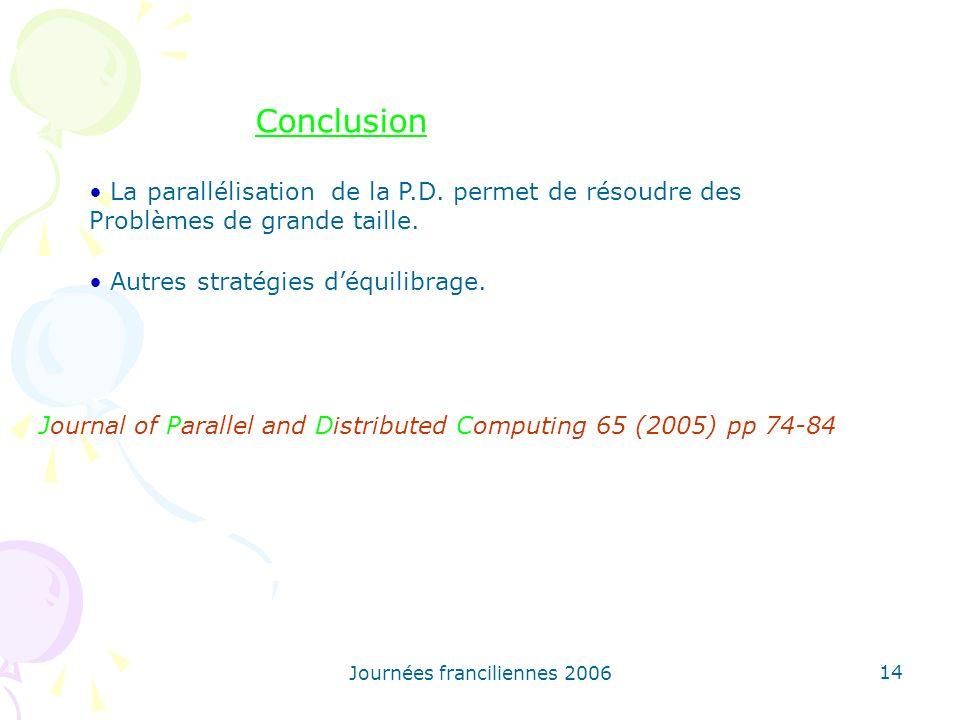 Conclusion La parallélisation de la P.D. permet de résoudre des