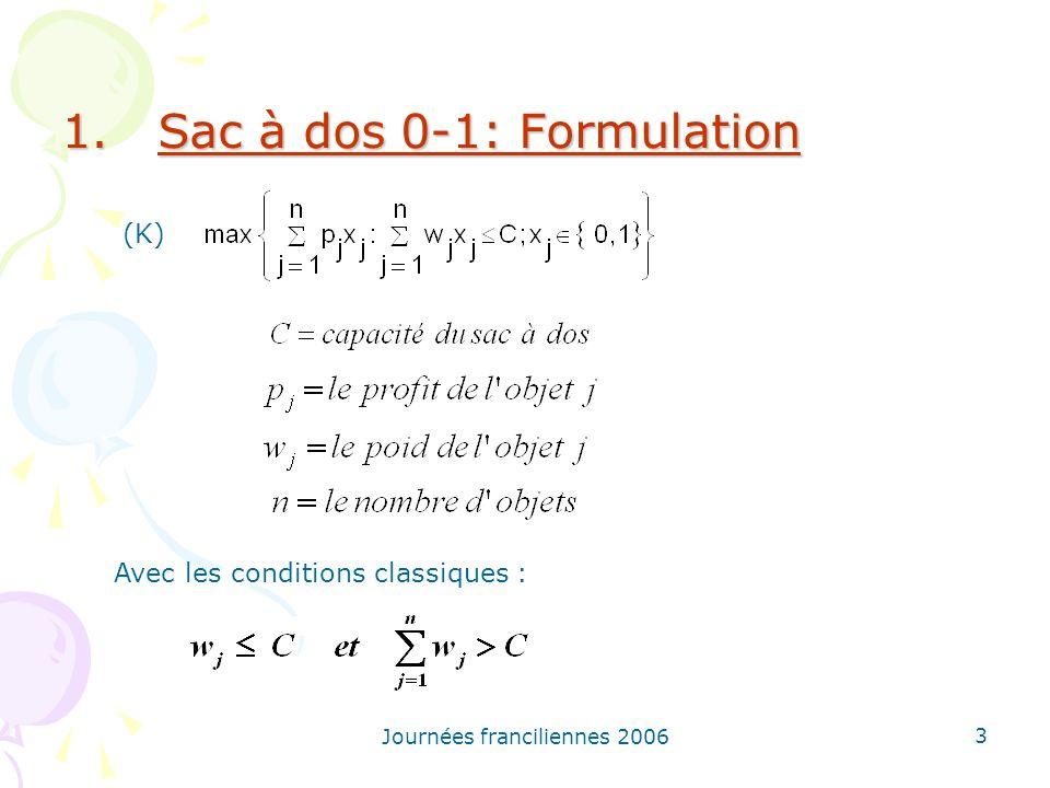 Sac à dos 0-1: Formulation