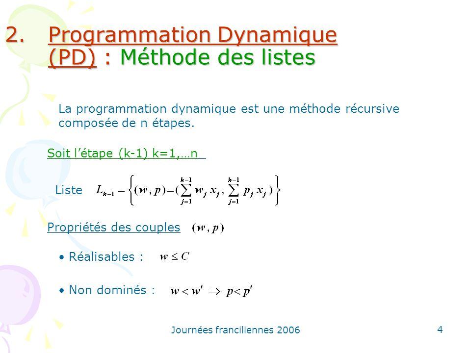 Programmation Dynamique (PD) : Méthode des listes